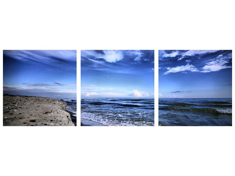 Panorama Leinwandbild 3-teilig Strandwellen - 150 x 50 cm