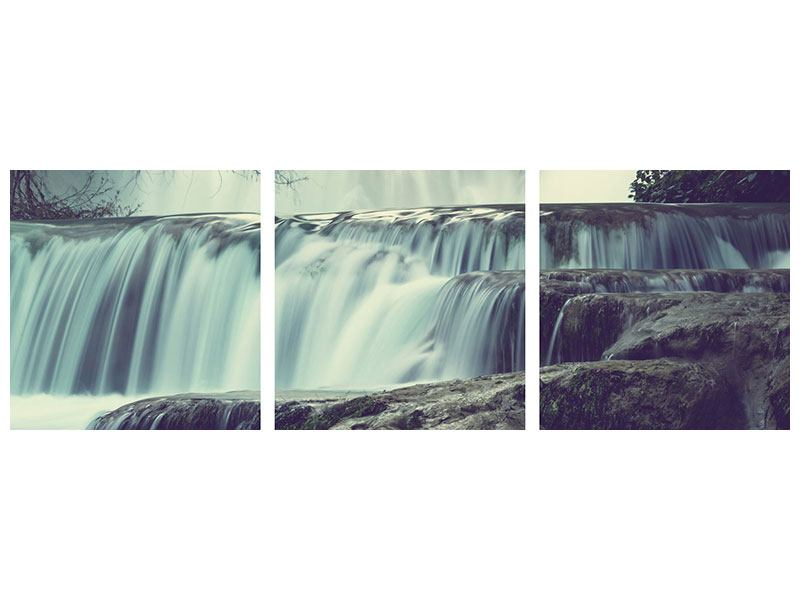 Panorama Leinwandbild 3-teilig Wasserfall Mexiko - 150 x 50 cm