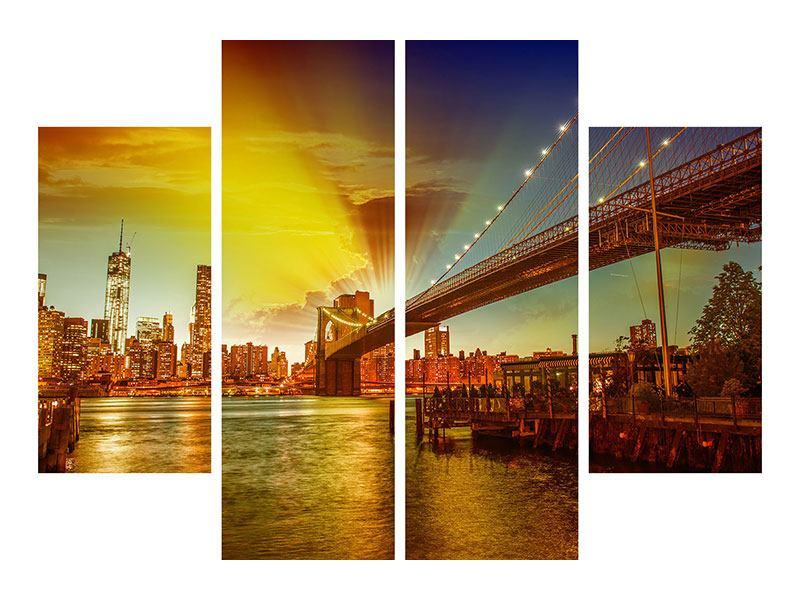 Leinwandbild 4-teilig Skyline Brooklyn Bridge NY - 80 x 60 cm